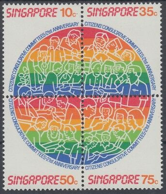 XG-AO321 SINGAPORE IND - Set, 1986 Committees Anniversary, Block Of 4 MNH