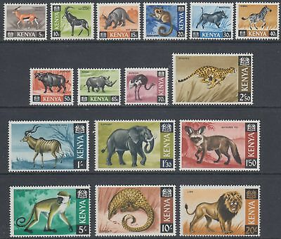 XG-AO225 KENYA - Definitives, 1966/9 Wild Animals, Fauna, 16V MNH Set