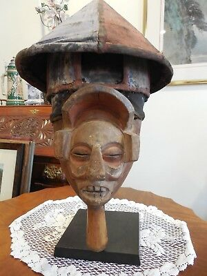 AFRICAN YAKA HELMET CREST MASK on CUSTOM BASE
