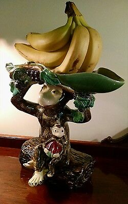 Majolica Monkey Jardiniere Palissy Pedestal Dish Art Pottery Bowl Wine Vineyard
