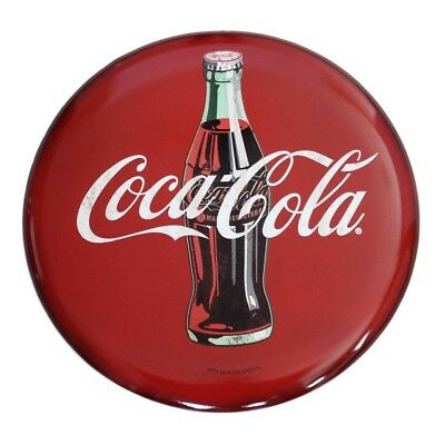 """Coca-Cola Hollow Curved Tin Metal Button Sign 24"""" inch Red Wall Art Advertising"""