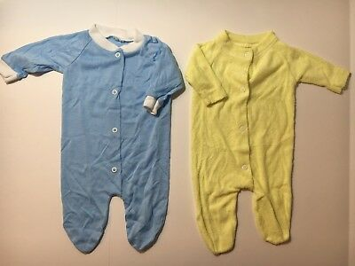 Vintage Yellow & blue Baby Girl & Boys Sleeper size small 0-3