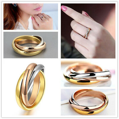 Wholesale 20Set=60X Intersect 3Color Stainless Steel Ring Wedding Cocktail FREE