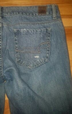 "Womens American Eagle Real Flare Blue Jeans Size 8L 8 Long 33"" Inseam"