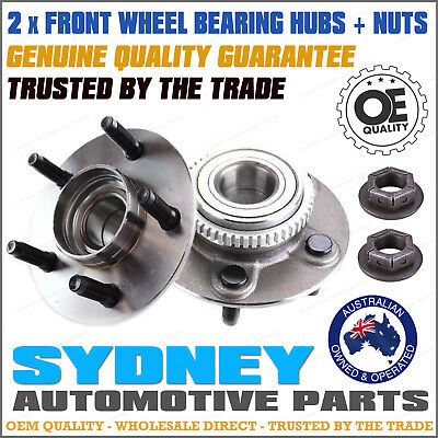 2 x Ford Falcon AU BA BF With ABS Front Wheel Bearing Hub set + 2 x Hub Nut