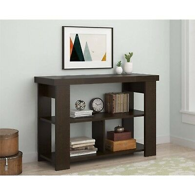 . MODERN WOOD CONSOLE Entry Table Storage Unit Shelves Living Room Hall  Bedroom