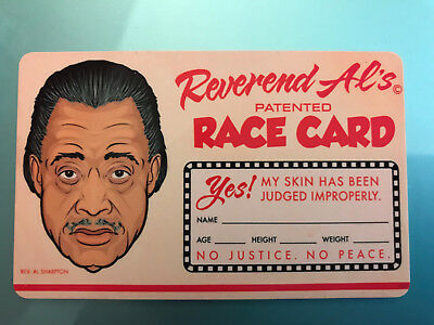 Rev Al Sharpton Patented Race Card My Skin - Use This Race Card To Win Argument