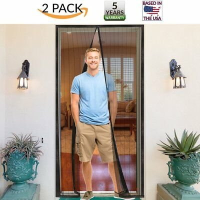 2 PACK Marquee Magnetic Screen Door Full Frame w/ Ultra Tough Velcro Mesh 34x82