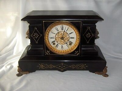 Antique Black Cast Iron Ansonia Mantel Mantle Clock Pat June 18 1882 Ornate NICE