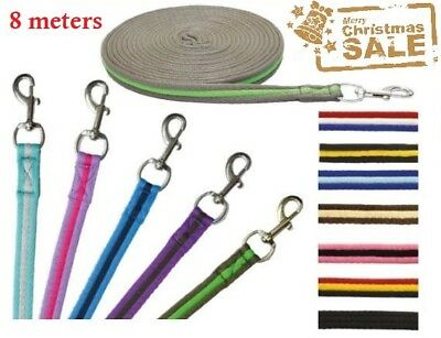 Cushioned Soft Lunge Web Rope Rein 8 Meter Dog Horse Clip Training Lead 8 meters