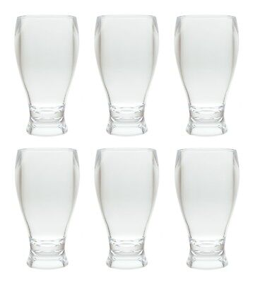 QG 14 oz Clear Acrylic Plastic Thick Wall Round Base Beer Glass Tumbler Set of 6