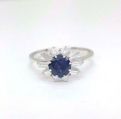 Ladies Ring 18ct (750, 18K) White Gold Natural Sapphire and 0.42pt Diamond Ring