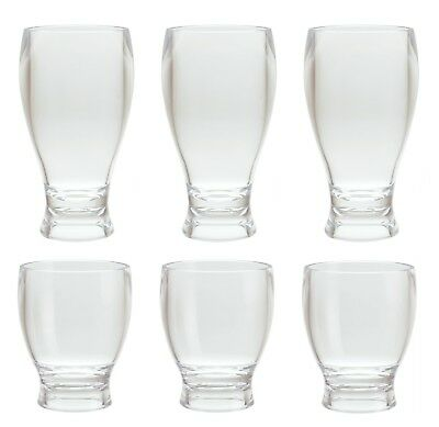 12&14 oz Clear Acrylic Plastic Thick Wall Round Base Beer Glass Tumbler Set of 6