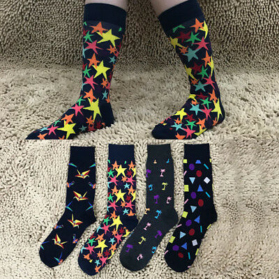 Mens Happy Socks Cotton Creative Printed Cotton Socks Casual Dress Sports Sox