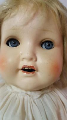 """AM2966 Toddler Open Mouth 4 Teeth Sleep Eyes 17"""" Composition Girl Doll"""