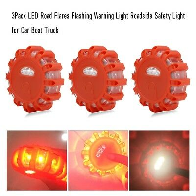 3Pack LED Road Flares Flashing Warning Roadside Safety Light for Car Truck NEW