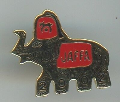 Hat or Lapel Pin Shriners 2002 JAFFA Elephant Gold Black with Red Hat D-3