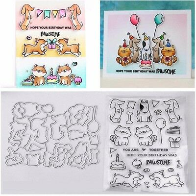 Cat & Dog Cutting Dies and Stamps DIY Scrapbooking Card Stencil Paper Craft