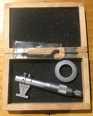 """Inside Diameter Micrometer - 1"""" to 2"""" with 1"""" Precision Ring Gage - Wood Case"""