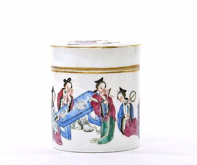 19C Chinese Famille Rose Porcelain Tea Caddy Box Figure Figurine 10 Lady