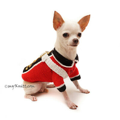 218e224d3699 British Royal Army Dog Sweater Pet Costume Hand Crochet Chihuahua F98  Myknitt