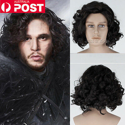 Men Short Black Curly Hair Cosplay Game of Thrones Jon Snow Male Anime Full Wigs
