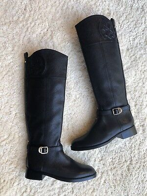 f5971aaed773 NEW  495 Tory Burch Marlene Riding Boots Black Pebble Leather Women s ...