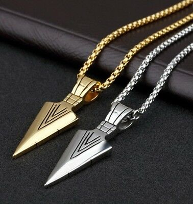 New Fashion Jewelry Men Gold Silver Arrow Head Pendant Long Chain Necklace Gift