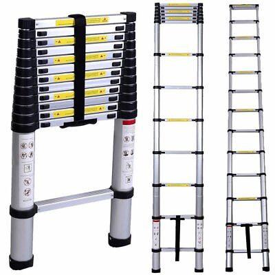 330Lbs 10.5FT 11-Steps Aluminum Telescoping Collapsible Extension Ladder US MX