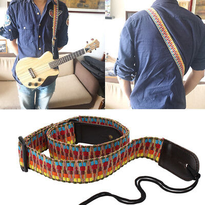 Adjustable Colorful Woven Acoustic-Guitar Bass Hanging Strap PU Leather End Band