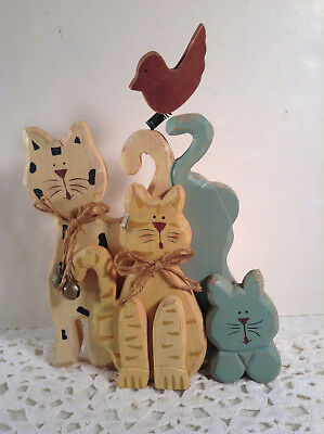 Rustic Folk Art Stand Decor All Wood Handpainted Trio Kitty Cats & Birdie