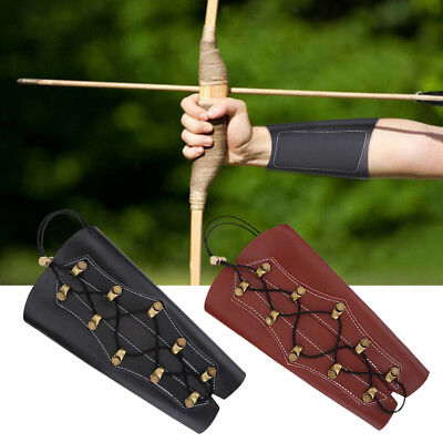 Archery Arm Guard Traditional Leather Bracer for Longbow & Recurve Bow 2 Colors