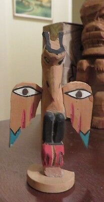 """vintage wood carved painted small mini raven winged totem pole 3.5"""" tall"""
