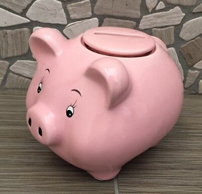 Pink Ceramic Childs Pig Piggy Bank With Removeable Top Lid