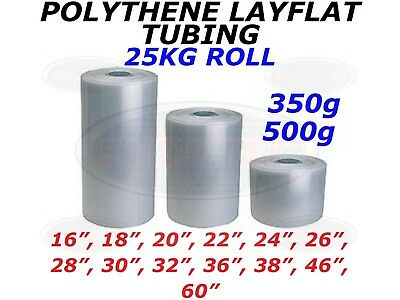 Layflat Polythene Poly Tubing Tube Clear Heavy Duty - 350 & 500 GAUGE *ALL SIZES