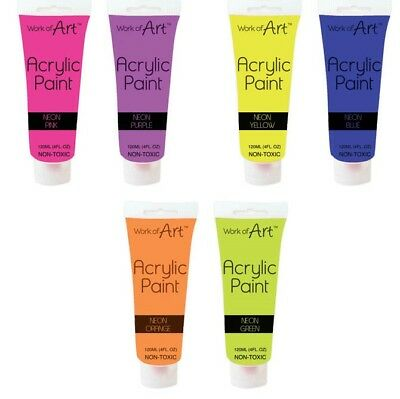 Artists Childrens Arts NEON Acrylic Paints In Tube 6 different Colours N-Toxic
