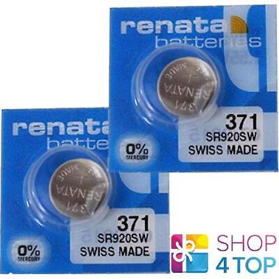 2 Renata 371 Sr920Sw Batteries Silver 1.55V Watch Swiss Made Exp 2022 New