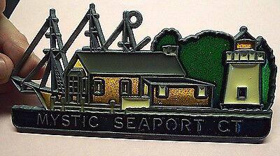 Vintage Mystic Seaport CT Stained Glass Sun Catcher for Window Metal Frame