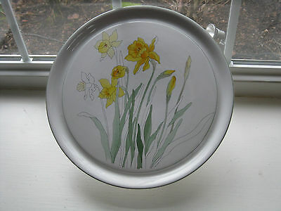 DAFFODIL Pedestal CAKE DISH by Block China Portugal Mary Lou Goertzen 1983