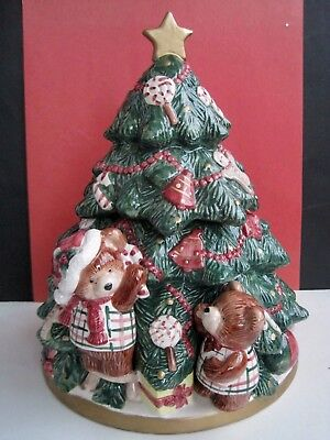 Vintage 1991 Fitz & Floyd Holiday Christmas Tree Cookie Jar With Bears 13""