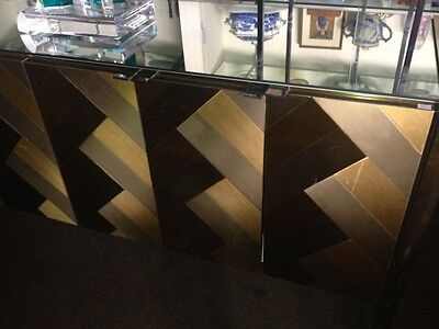 Vintage Pace Mid Century Modern Mirrored Brass And Chrome Credenza Sideboard