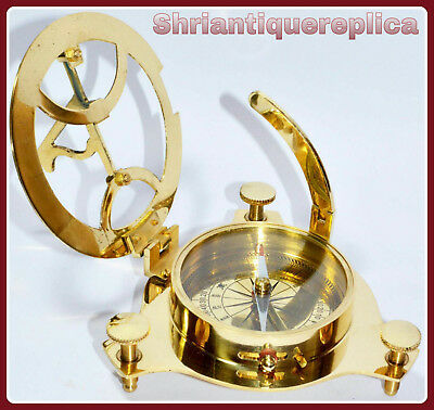 Solid Brass Sundial Compass Maritime Vintage West London Marine Compass replica