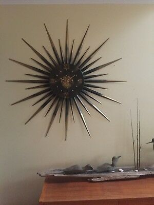 "Mid Century Modern 47"" Starburst Wall Clock Metal Black Gold HUGE Vintage"