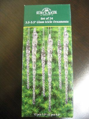 24 Clear Glass Icicle Twisted Christmas Ornaments Hanging Tree Decor Win