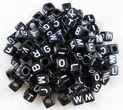 50Pcs 6mm Acrylic Black Cube ALPHABET BEADS DIY JEWELRY SINGLE LETTER A-Z