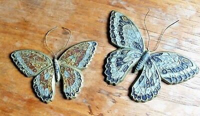 Pair Vintage SOLID BRASS BUTTEFLIES  - Wall Art / Decor - Made in India