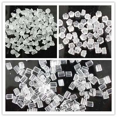 200Pcs Rubber Earring Backs Stoppers Flower Clear Cone Plum Ear Post Nuts 4/6 mm