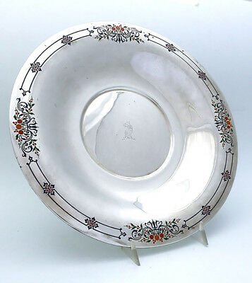 INTERNATIONAL Art Deco Sterling and ENAMEL CHARGER TRAY with CREST