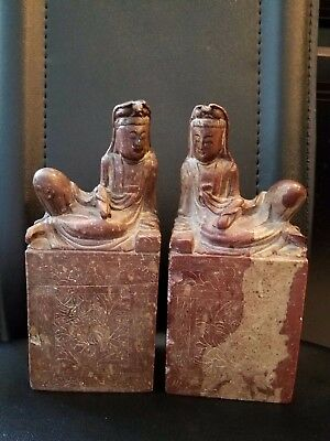 "Chinese Carved Soapstone Laying Down Buddha Sculpture 7 3/4"" h Vintage pair"