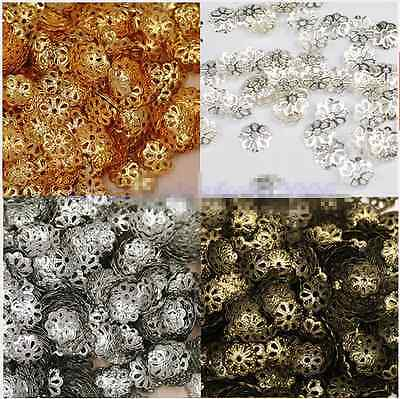 500Pcs 6mm Gold Silver Plated Flower Hollow Flower End Beads Caps DIY Jewelry
